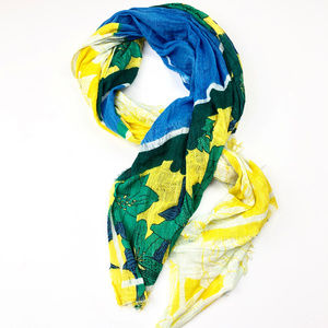 ZARA | Floral Green White Yellow Scarf Bold Print